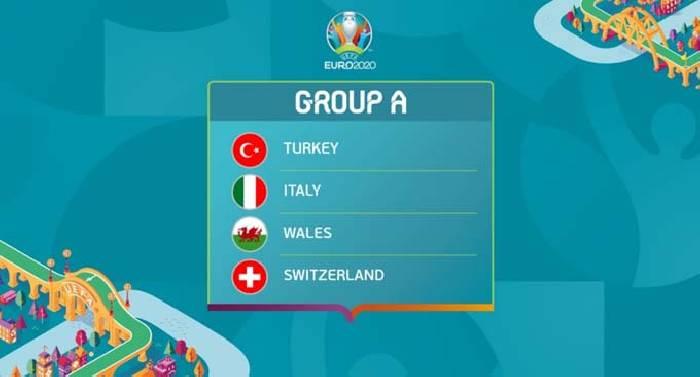 Bảng đấu A VCK EURO 2021: Thổ Nhĩ Kỳ, Italia, Xứ Wales, Thụy Sĩ