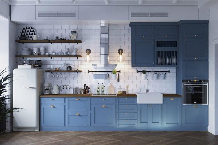 Không gian bếp mở và tối giản