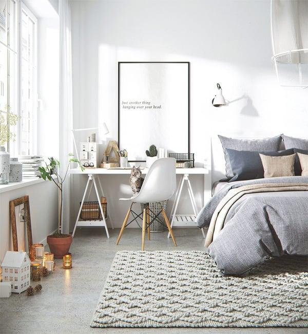 Một phòng ngủ được bài trí khoa học dựa trên tông màu trắng chủ đạo